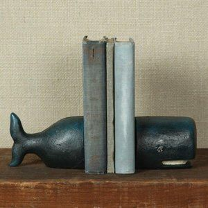 HomArt Cast Iron Whale Book Ends